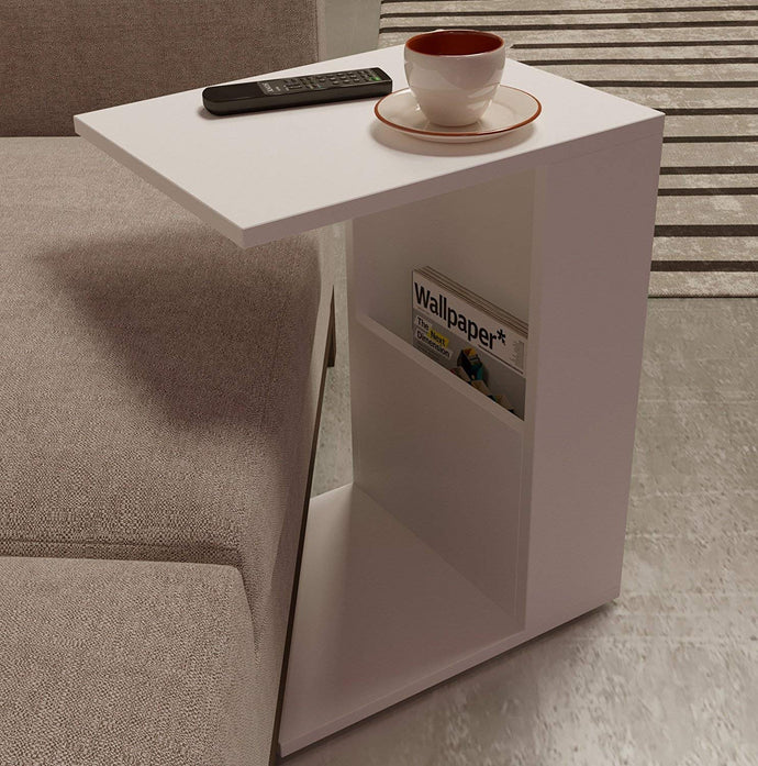 DriftingWood Wooden White Bedside End Table with Magazine Holder for Home Living Room