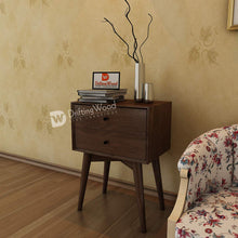 Load image into Gallery viewer, DriftingWood Sheesham Wood Bed Side Table for Living Room | Bedside Table for Bedroom | 2 Drawer Side Table | Walnut Brown
