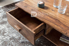 Load image into Gallery viewer, DriftingWood Sheesham Wood Capital Center Coffee Table for Living Room | Side Shelf & One Drawer | Light Brown