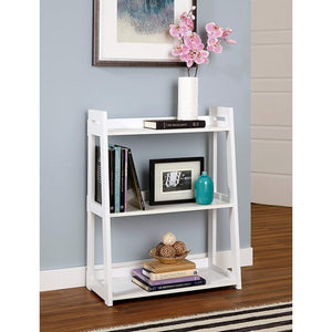 Driftingwood Sheesham Wood 3 Tier Ladder Shelf Bookcase for Living Room | White