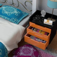 Load image into Gallery viewer, Driftingwood Wooden Bed Side/Side Cabinet in Black Finish with Orange Drawers
