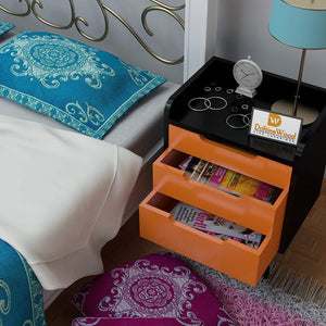 Driftingwood Wooden Bed Side/Side Cabinet in Black Finish with Orange Drawers