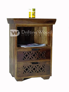 Driftingwood Sheesham Wood Bed Side Cabinet with 2 Drawer for Living Room | Walnut Finish