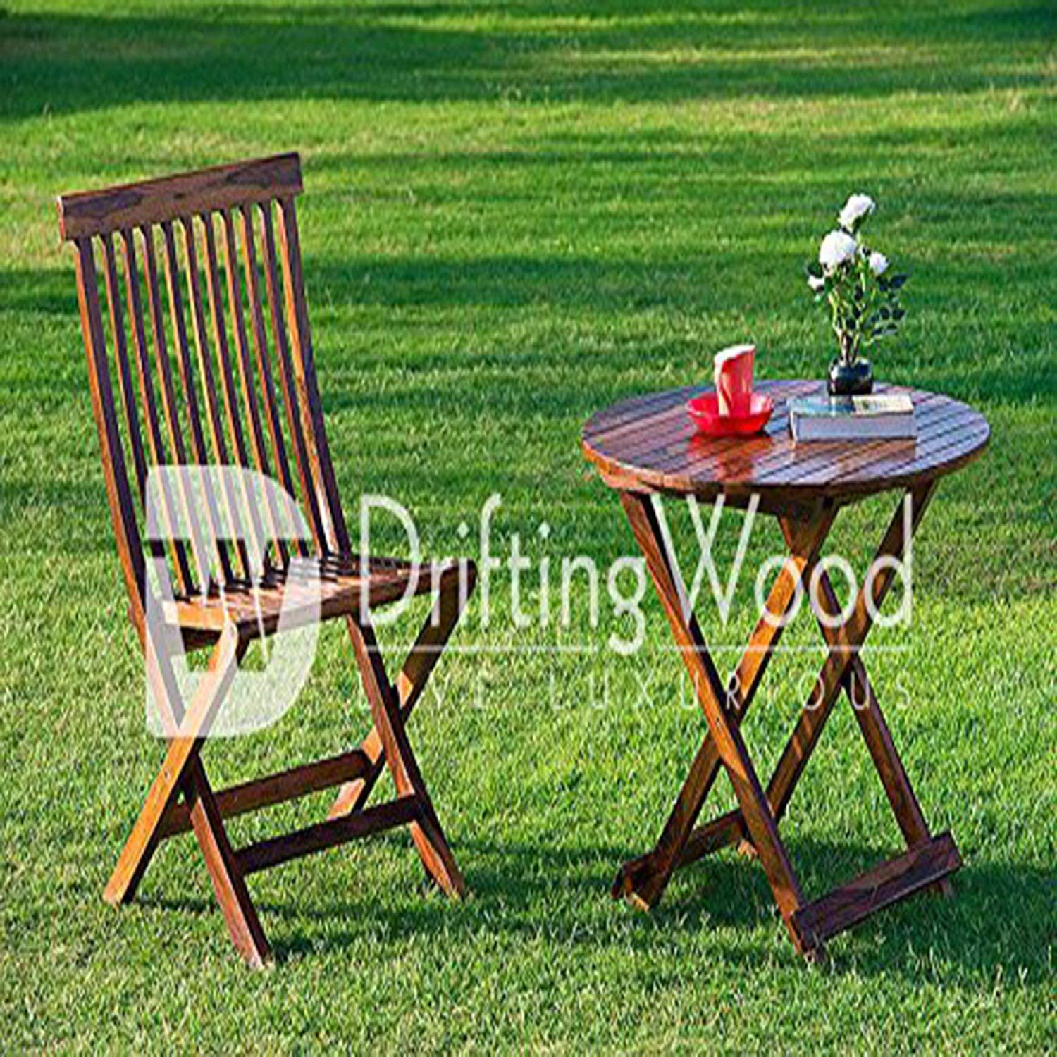 Outstanding Driftingwood Sheesham Wood Round Dining Table Set And Folding Chairs For Living Room Set Of 2 Rich Walnut Finish Gmtry Best Dining Table And Chair Ideas Images Gmtryco