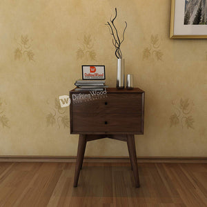 DriftingWood Sheesham Wood Bed Side Table for Living Room | Bedside Table for Bedroom | 2 Drawer Side Table | Walnut Brown