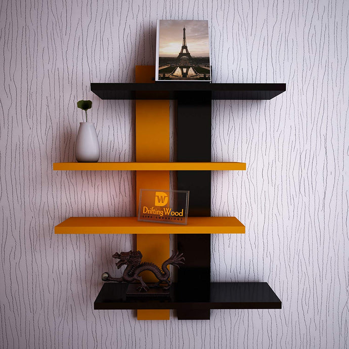 DrifitingWood Wooden Ladder Shape 4 Tier Wall Shelf Designer Wall Rack Shelves - Orange & Black