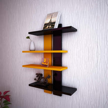 Load image into Gallery viewer, DrifitingWood Wooden Ladder Shape 4 Tier Wall Shelf Designer Wall Rack Shelves - Orange & Black