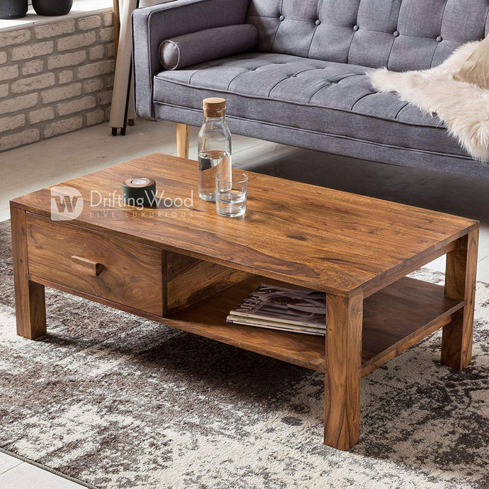 DriftingWood Sheesham Wood Capital Center Coffee Table for Living Room | Side Shelf & One Drawer | Light Brown