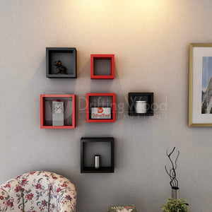 Driftingwood Nesting Square Wall Shelf for Living Room | Set of 6 Wall Sleeves | Black and Red