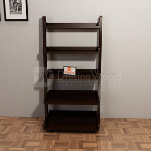 Driftingwood Wooden 5 Tier Ladder Shelf Bookcase for Living Room |Bookcase Divider | Dark Brown Finish