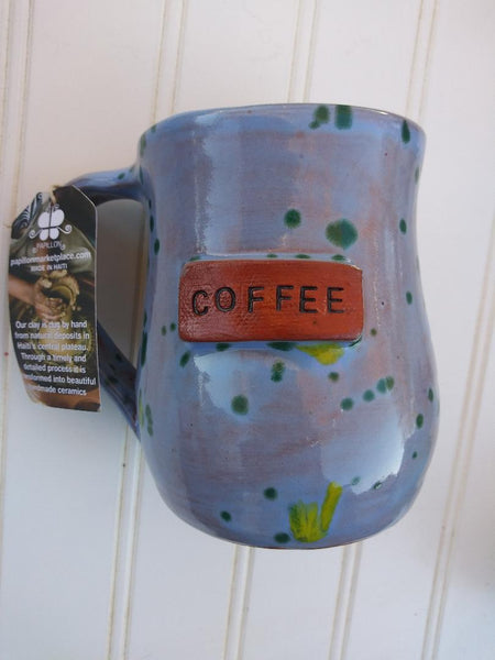 Handmade Clay Mugs COFFEE (blue speckled)