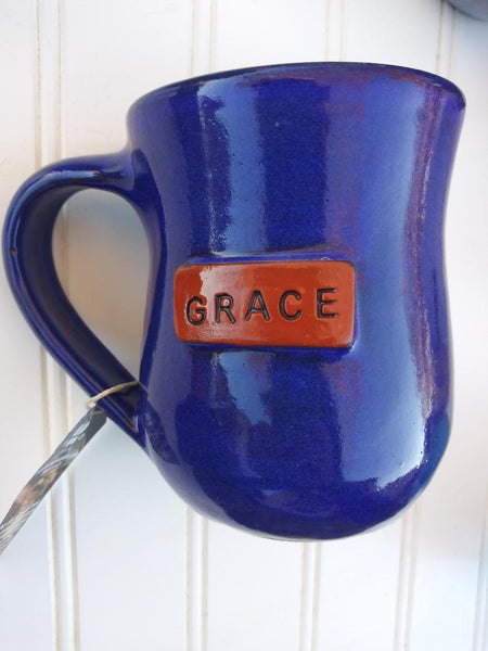 Handmade Clay Mugs- GRACE (blue)