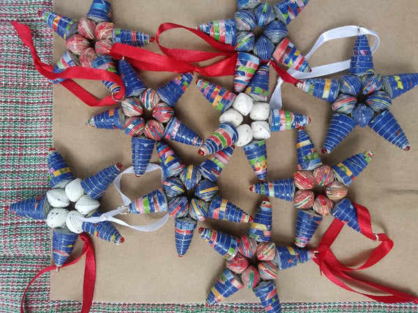 Recycled Paper Bead Ornaments  blue