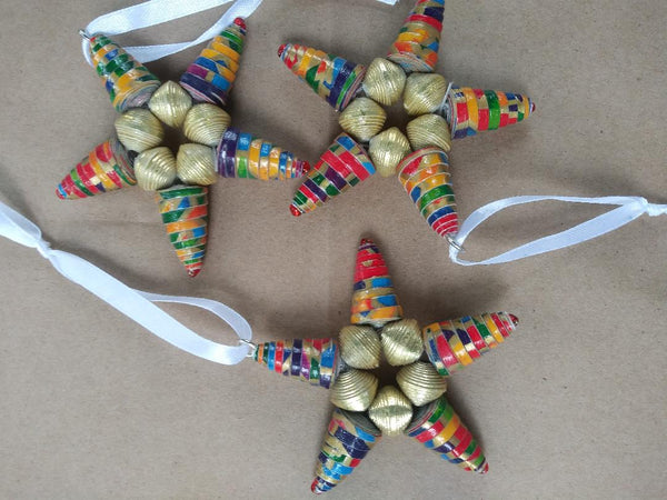 Recycled Paper Bead Ornaments  gold multi