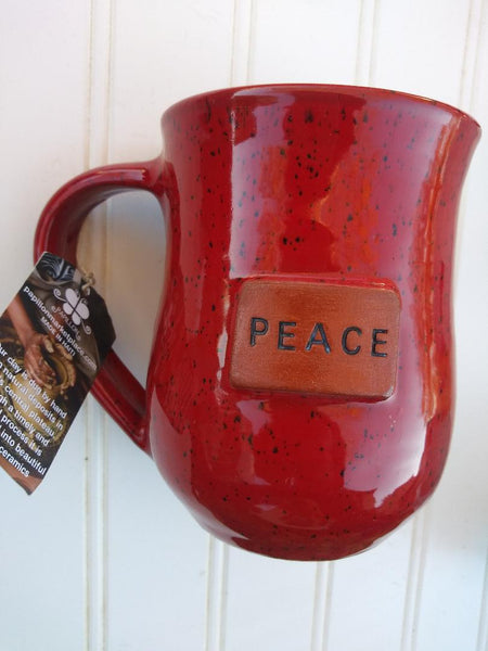 Handmade Clay Mugs-PEACE (Red)