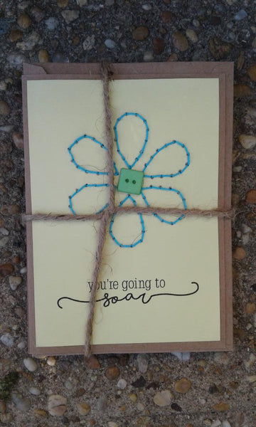 "Rosie's hand embroided ""SOAR"" cards"