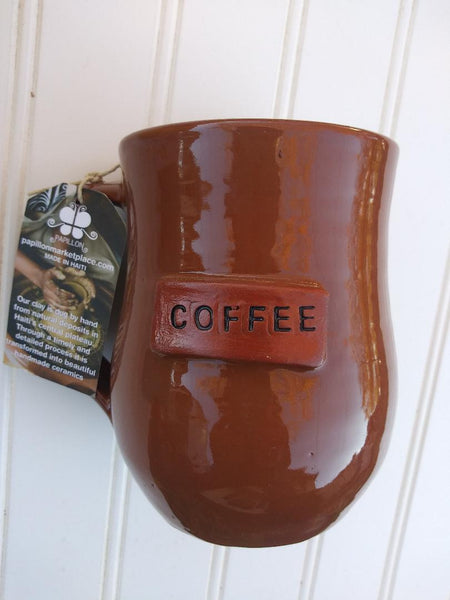 Handmade Clay Mugs-COFFEE (Brown)