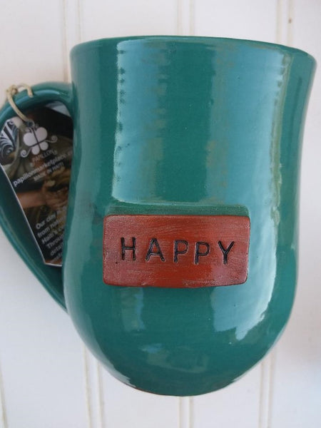 Handmade Clay Mugs-HAPPY (aqua)