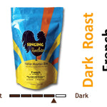 Singing Rooster dark roast coffee, French, ground