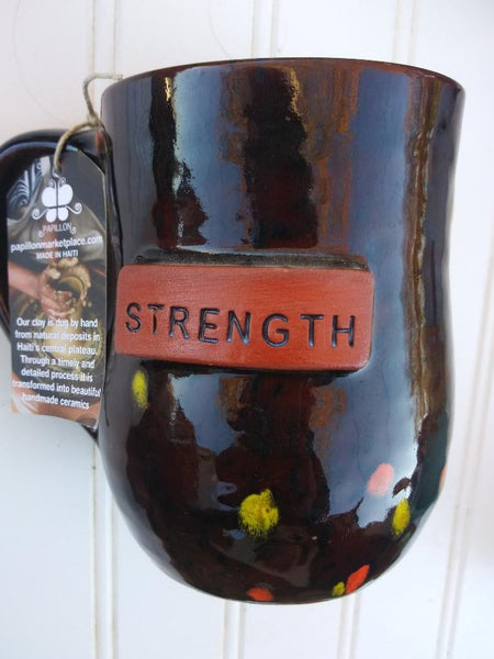 Handmade Clay Mugs-Strength (speckled)