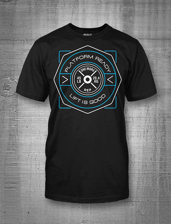 One More Rep Lift Is Good Blue Emblem Men's Tee