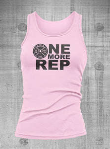 One More Rep Womens Pink with Black Ribbed Tank top