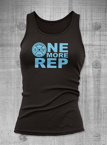 One More Rep Womens Black with Blue Ribbed Tank Top