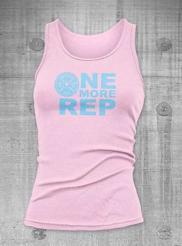 One More Rep Womens Pink with Blue Ribbed Tank top