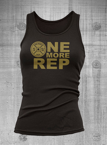 One More Rep Womens Black with Gold Ribbed Tank Top