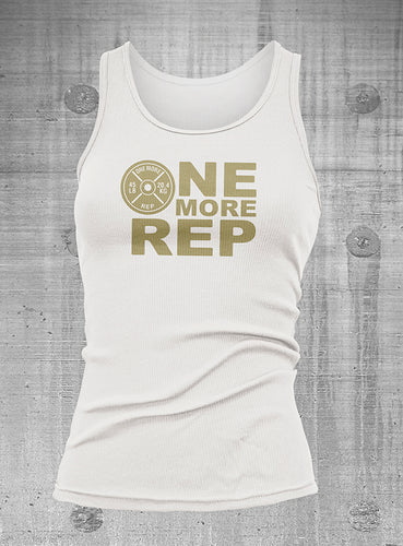 One More Rep Womens White with Gold Ribbed Tank Top