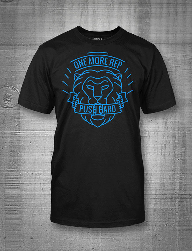 One More Rep Push Hard Lion Mens Tee Blue on Black