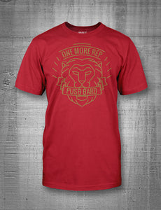 One More Rep Push Hard Lion Mens Tee Gold on Red