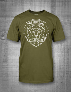 One More Rep Push Hard Lion Men's Tee White on Military Green