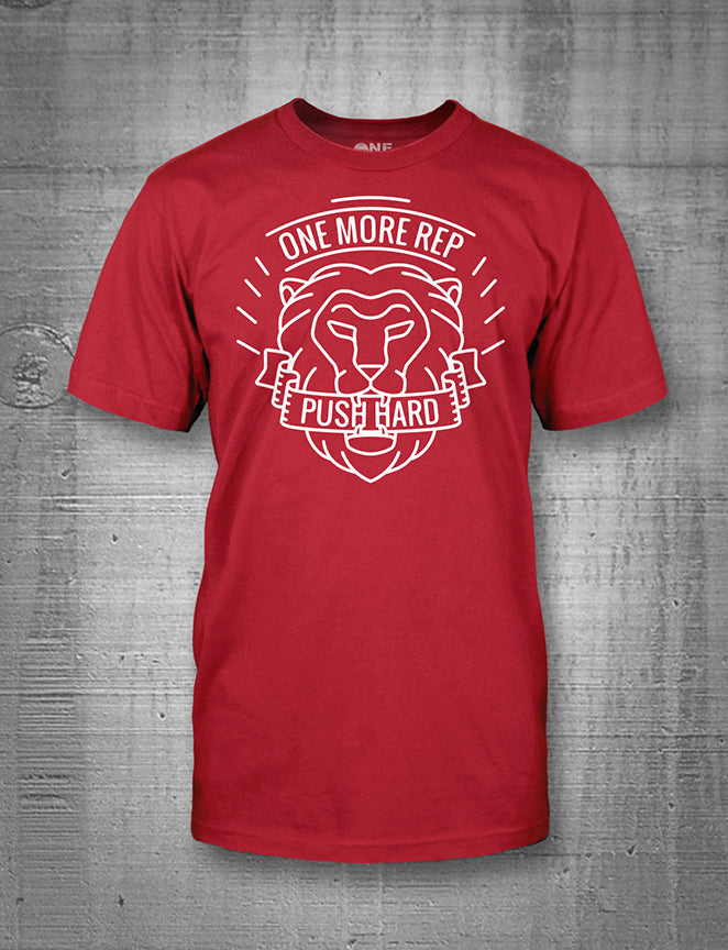 One More Rep Push Hard Lion Mens Tee White on Red