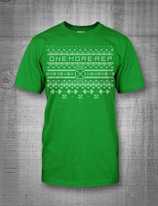 One More Rep Christmas Sweater Men's Green T-Shirt