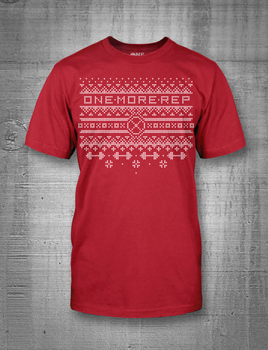 One More Rep Christmas Sweater Mens Red T-Shirt