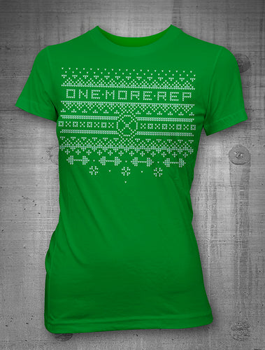 One More Rep Christmas Sweater Women's Green T-Shirt