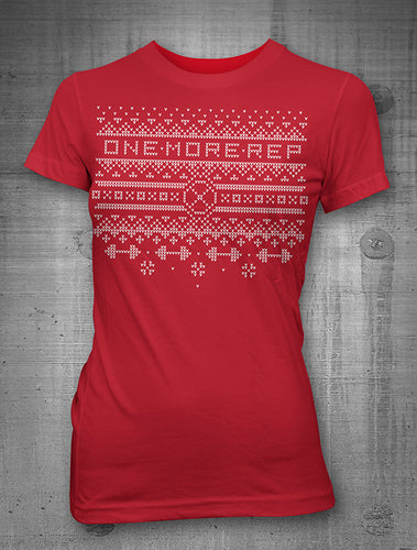 One More Rep Christmas Sweater Women's Red T-Shirt
