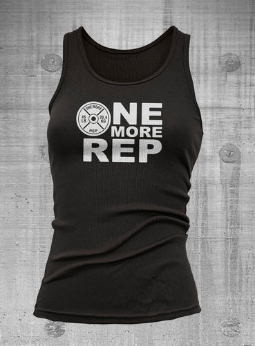 One More Rep Women's Black Ribbed Tank Top