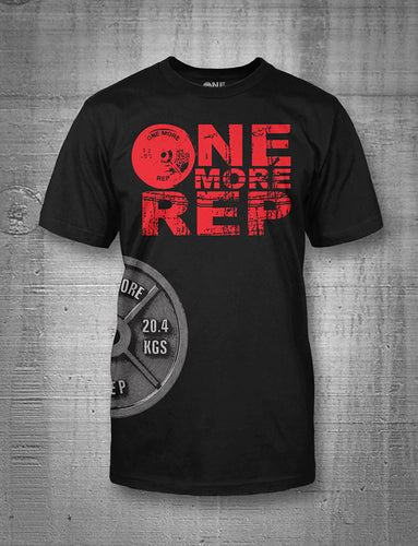 One More Rep Classic Logo in Red with Side Plate Men's Tee