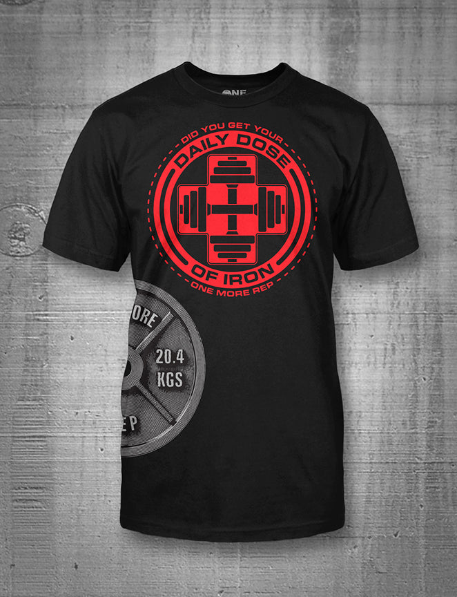 One More Rep Daily Dose of Iron with Side Plate Men's Tee