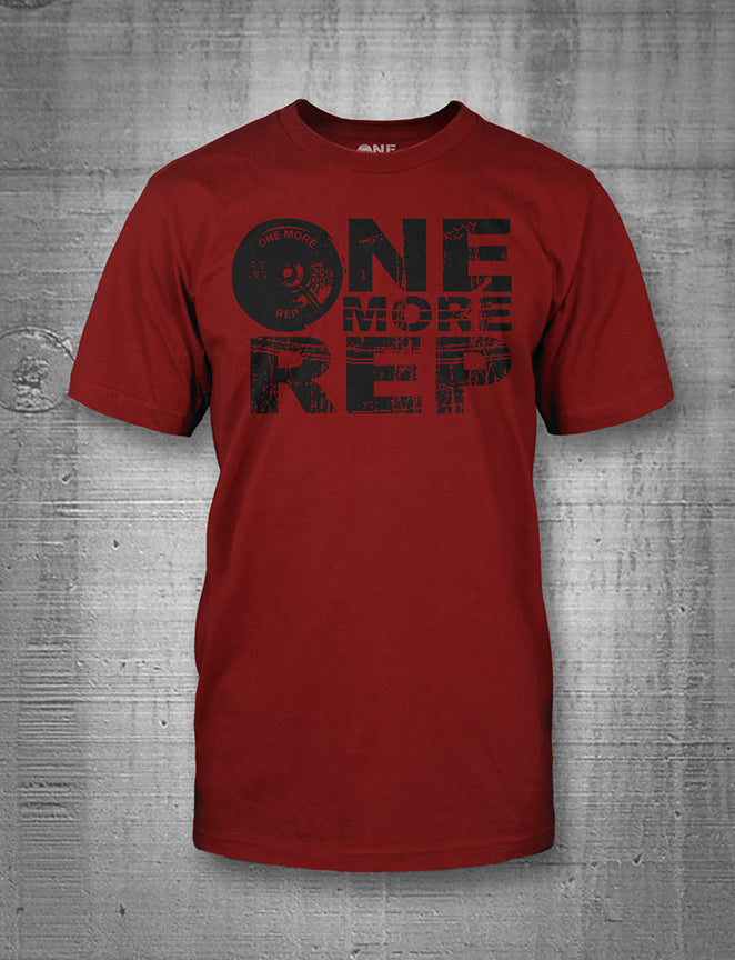 One More Rep Classic Logo in Black on Cardinal Red Men's Tee