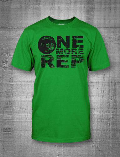 One More Rep Classic Logo in Black on Green Men's T-Shirt