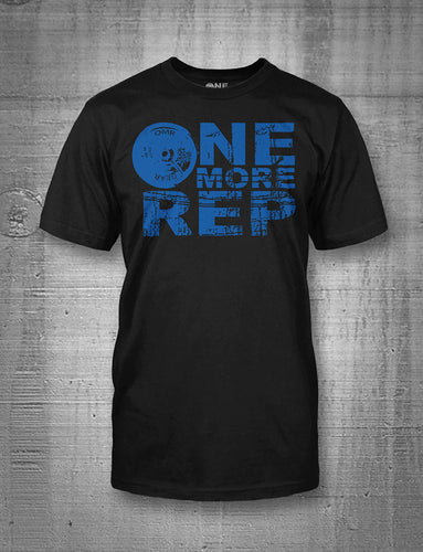 One More Rep Classic Logo in Blue on Black T-Shirt