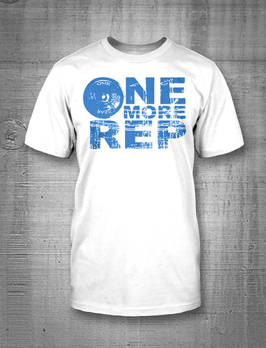 One More Rep Classic Logo in Blue on White T-Shirt