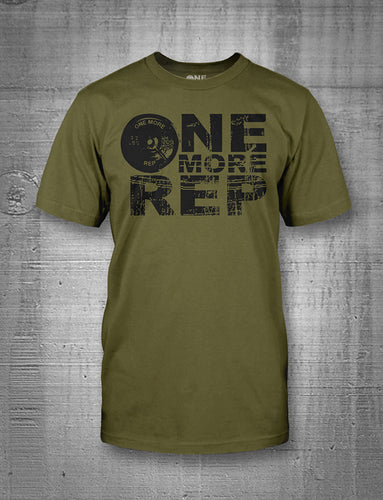 One More Rep Classic Logo in Black on Military Green Men's Tee