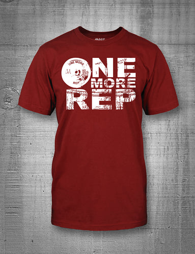 One More Rep Classic Logo in White on Cardinal Red Men's Tee