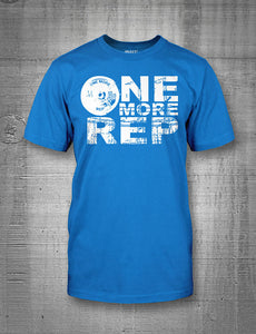 One More Rep Classic Logo in White on Blue Men's Tee