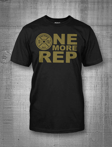 One More Rep Logo in Gold on Black T-Shirt
