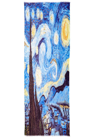Van Gogh's Starry Night Painting Printed on Captiva Cashmere Featherweight Scarf